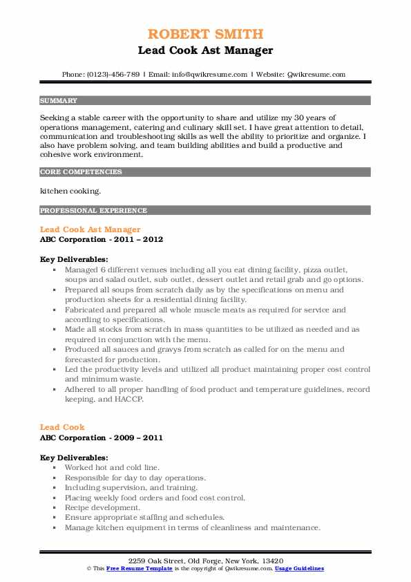Lead Cook Ast Manager Resume Format