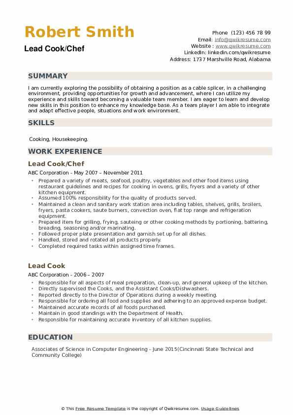 Lead Cook/Chef Resume Template