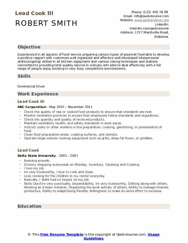 Lead Cook III Resume Sample