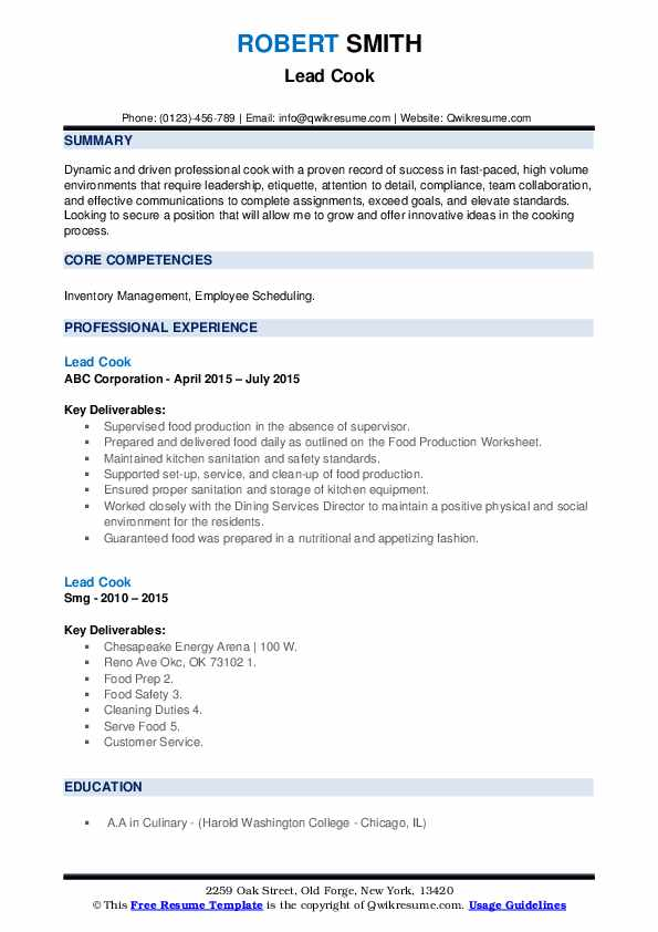 Lead Cook Resume Format
