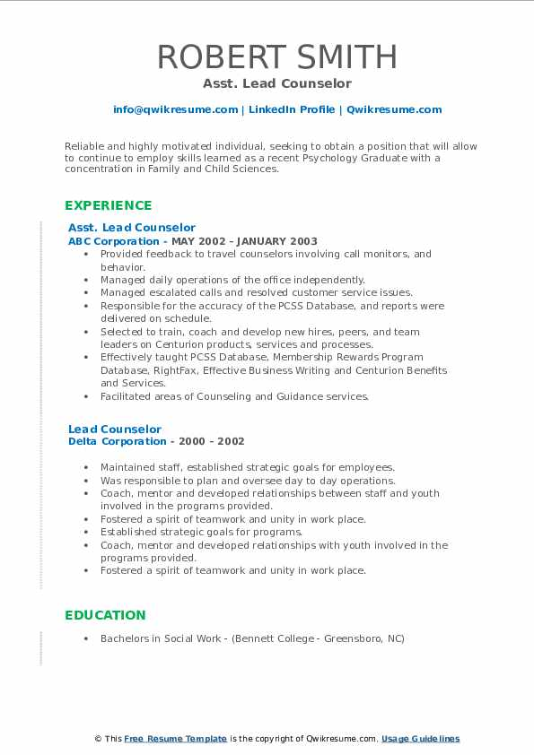 Lead Counselor Resume Samples Qwikresume