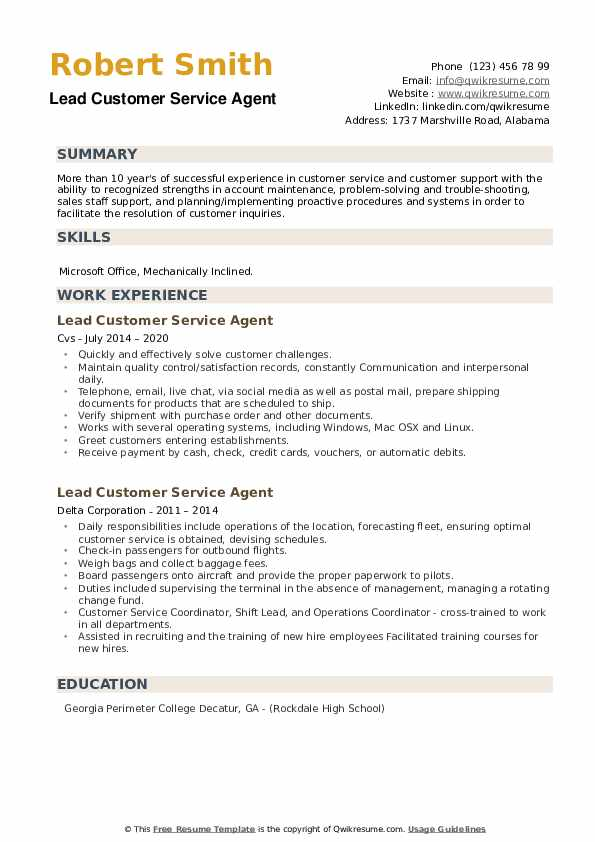 Lead Customer Service Agent Resume example
