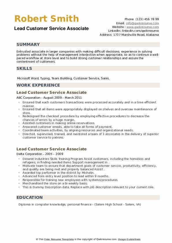 Lead Customer Service Associate Resume example