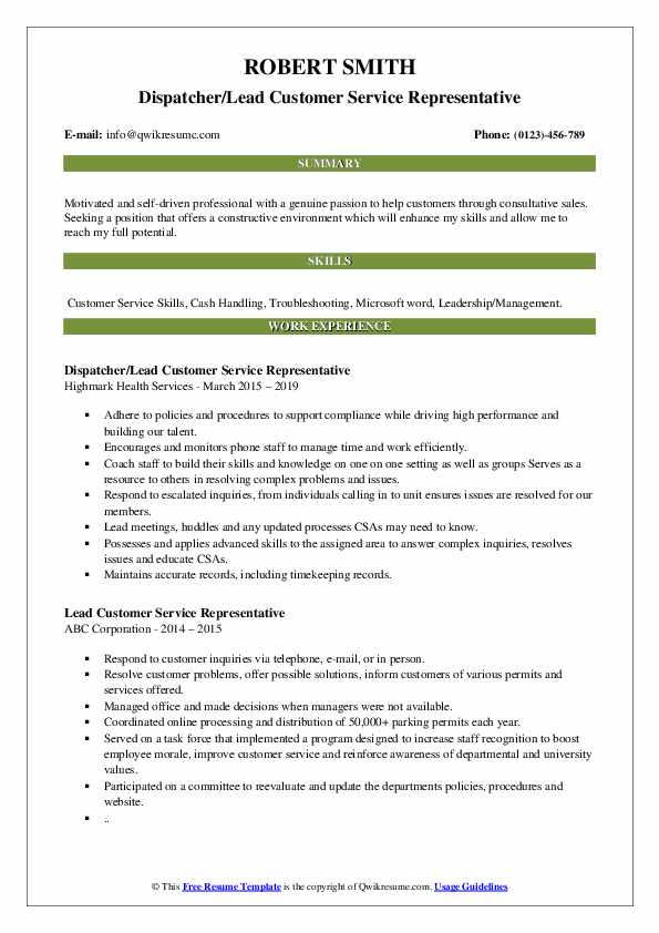Dispatcher/Lead Customer Service Representative Resume Example
