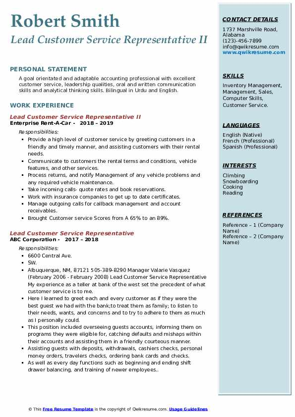 Lead Customer Service Representative II Resume Template