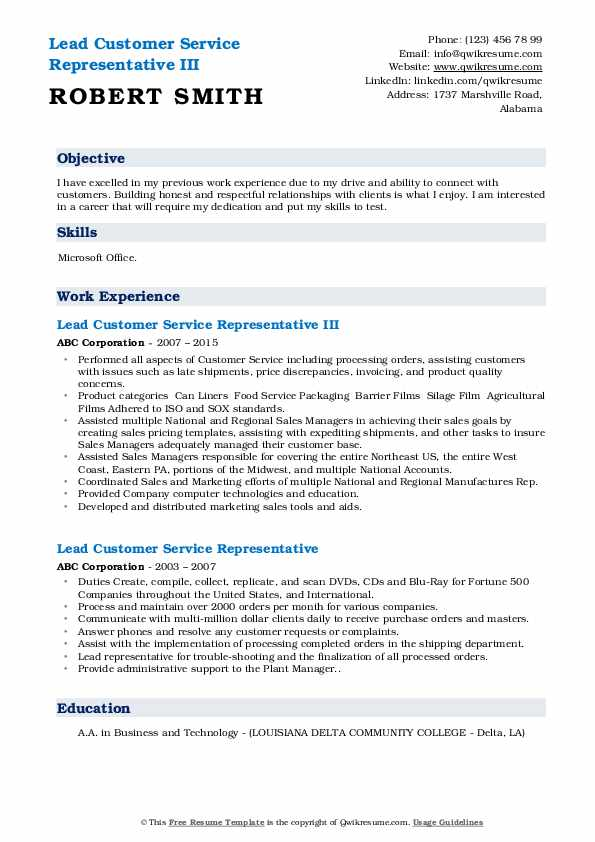 Lead Customer Service Representative III Resume Sample