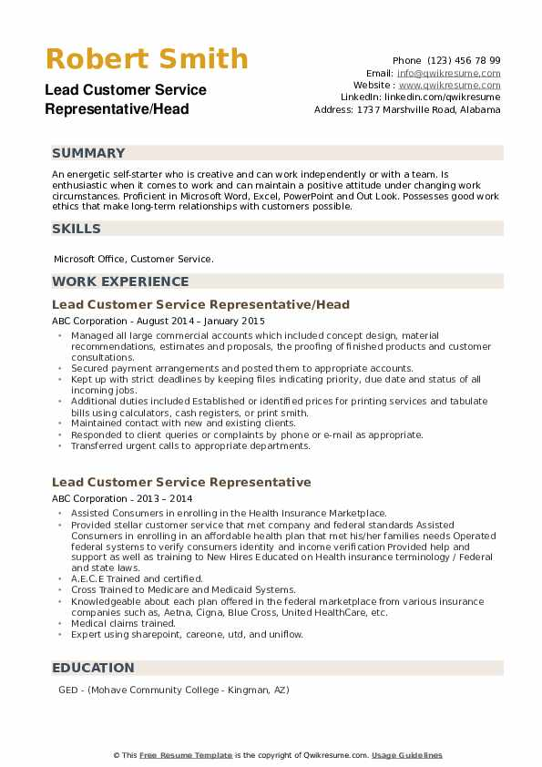Lead Customer Service Representative/Head Resume Sample