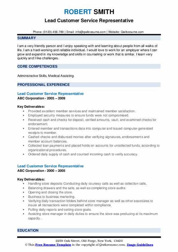 Lead Customer Service Representative Resume example
