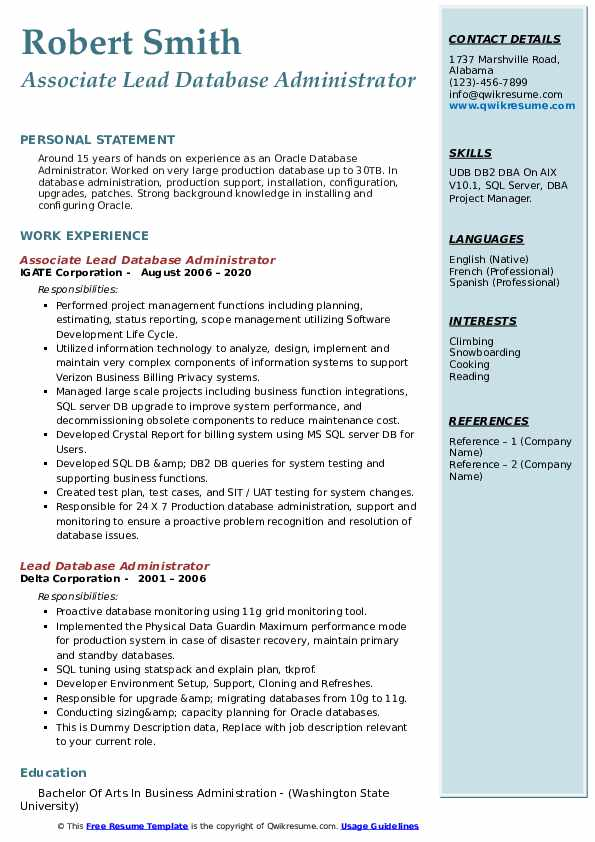 Lead Database Administrator Resume Samples Qwikresume