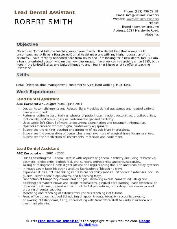 lead dental assistant resume samples