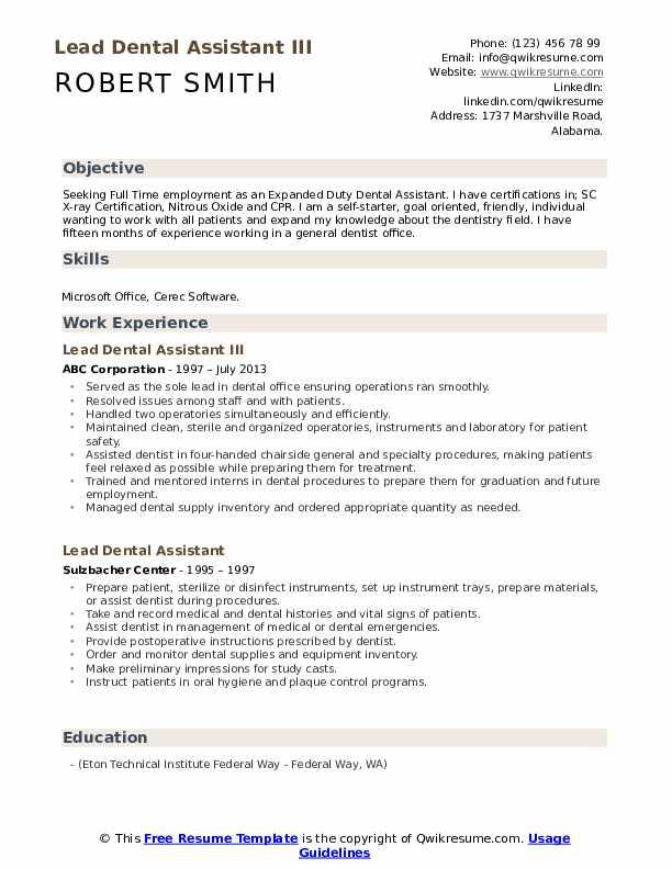 Lead Dental Assistant Resume Samples | QwikResume