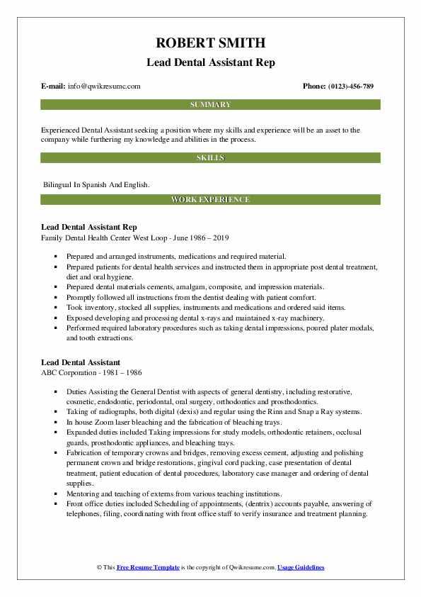 lead dental assistant resume samples