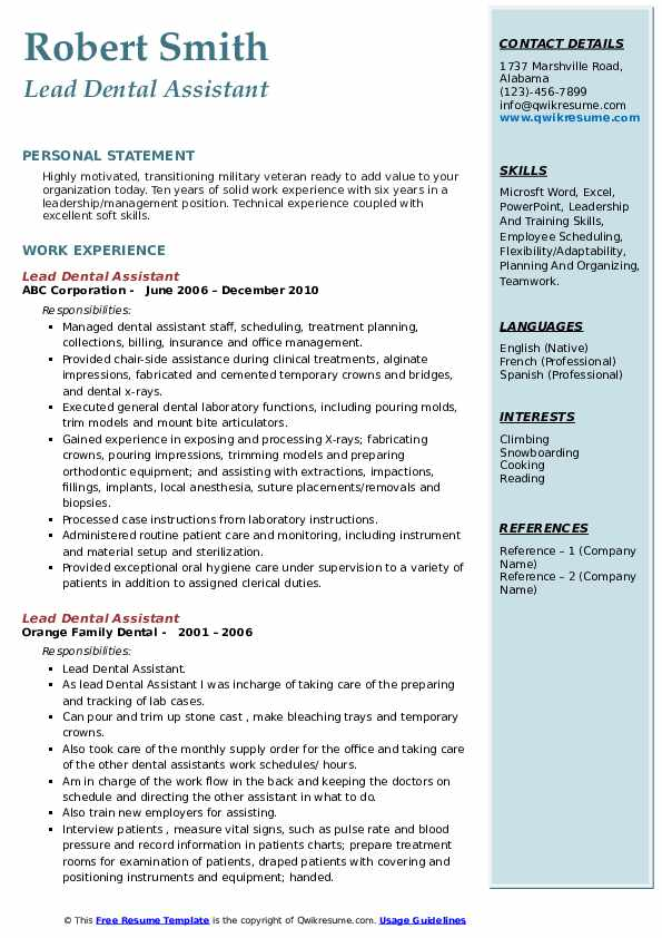 Lead Dental Assistant Resume example
