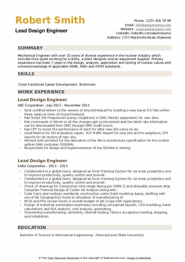 Lead Design Engineer Resume example