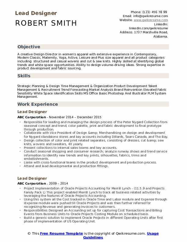 Lead Designer Resume Samples Qwikresume