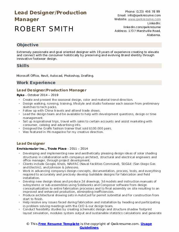 Lead Designer/Production Manager Resume Template