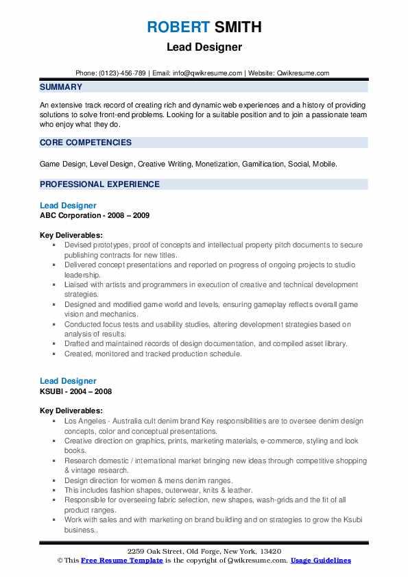 Lead Designer Resume example