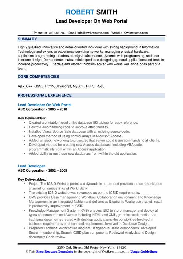 Lead Developer On Web Portal Resume Example