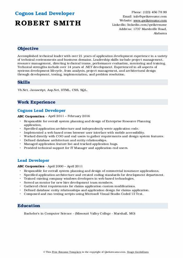 Cognos Lead Developer Resume Sample