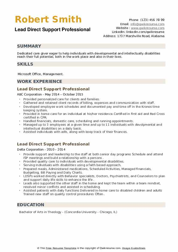 Lead Direct Support Professional Resume example