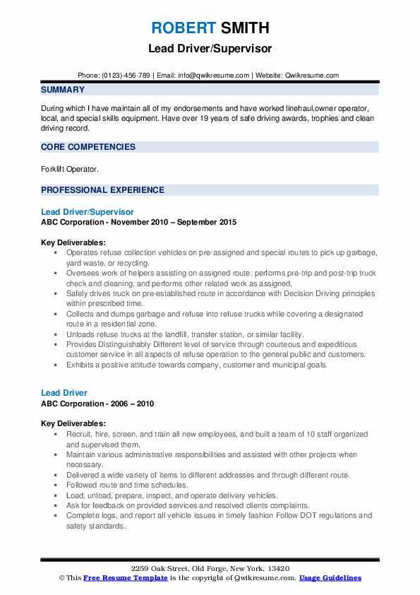 Lead Driver/Supervisor Resume Sample