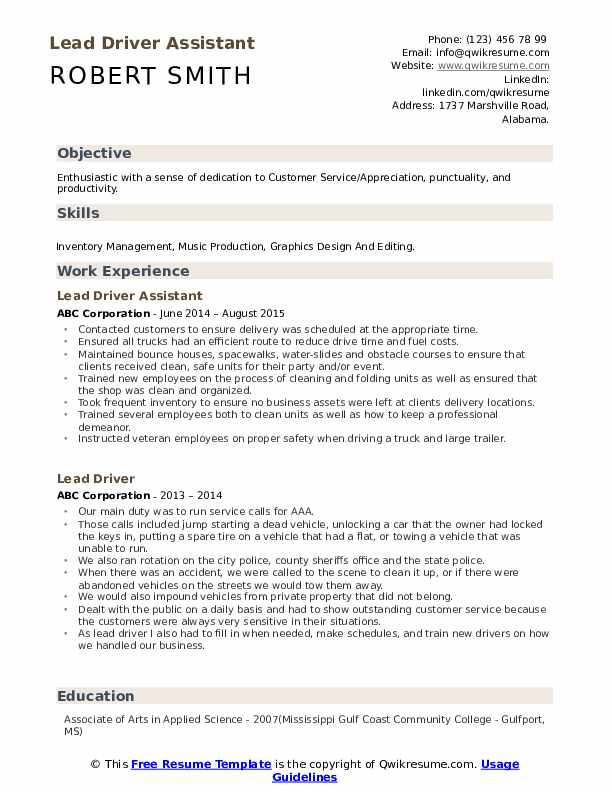 Lead Driver Assistant  Resume Model