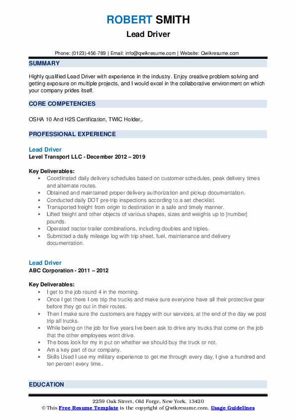 Lead Driver Resume example