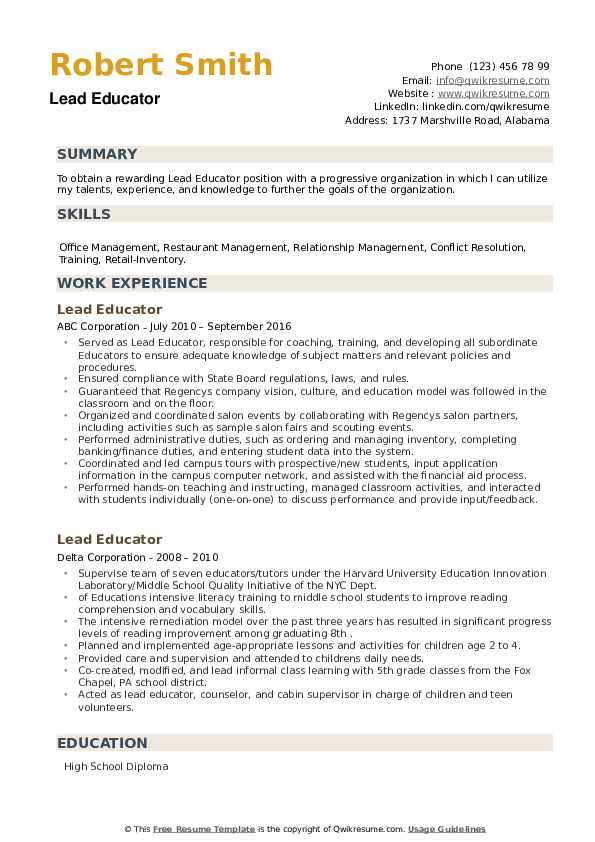 Lead Educator Resume example