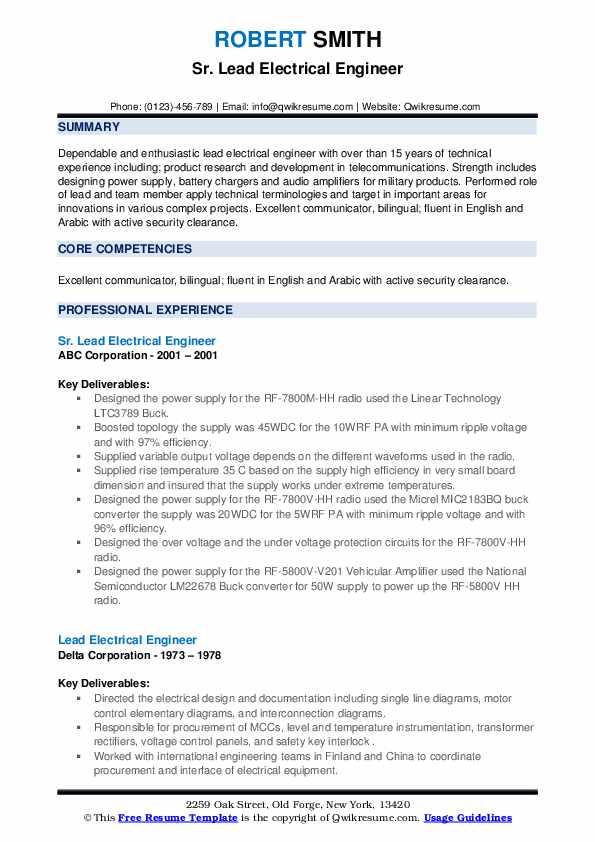 Lead Electrical Engineer Resume Samples Qwikresume
