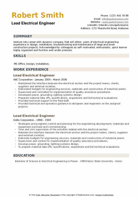 Lead Electrical Engineer Resume example