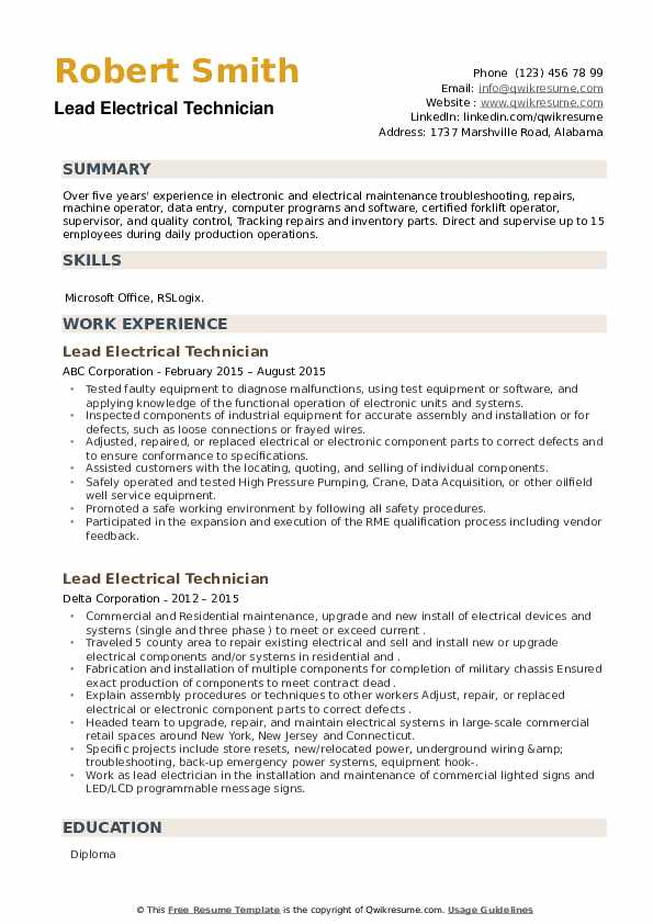 Lead Electrical Technician Resume example