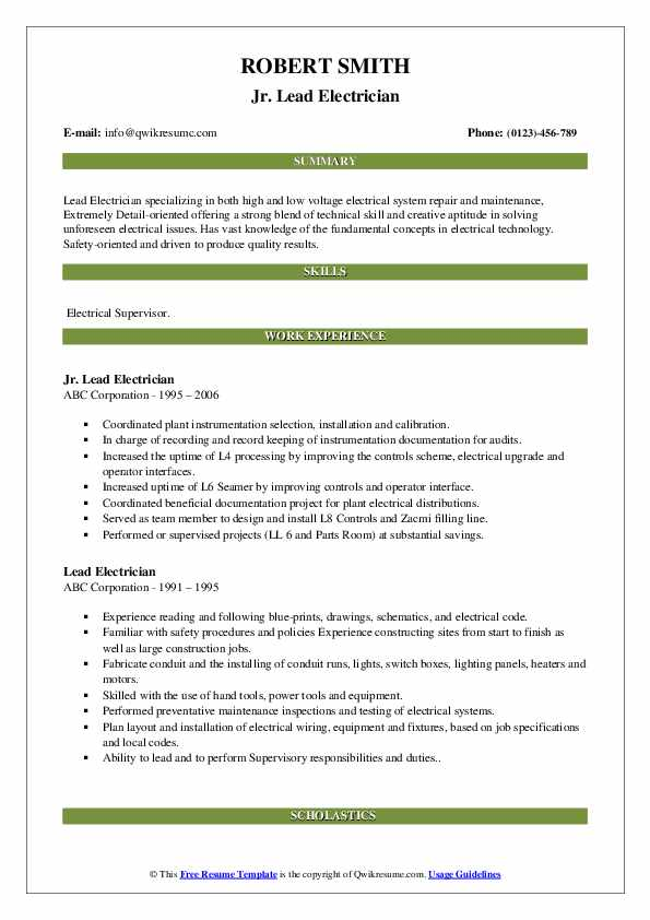 Lead Electrician Resume Samples