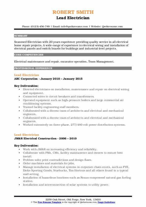 Lead Electrician Resume example