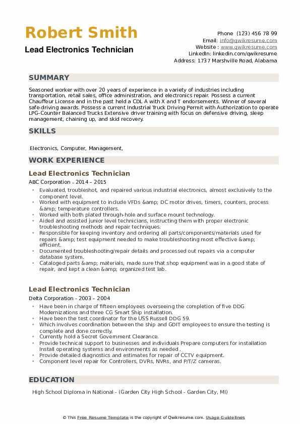 Lead Electronics Technician Resume example