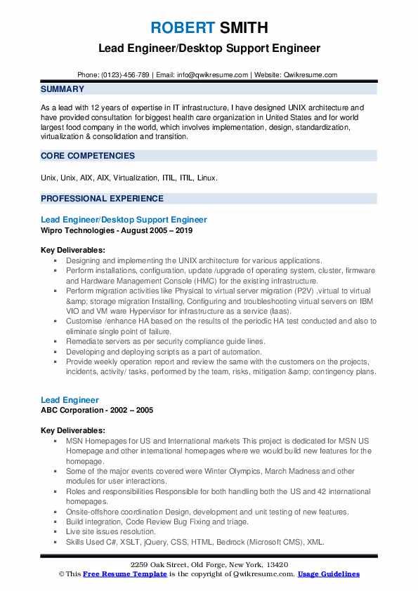 Lead Engineer/Desktop Support Engineer Resume Sample