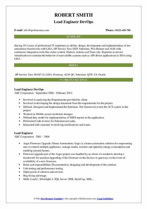 lead engineer resume samples