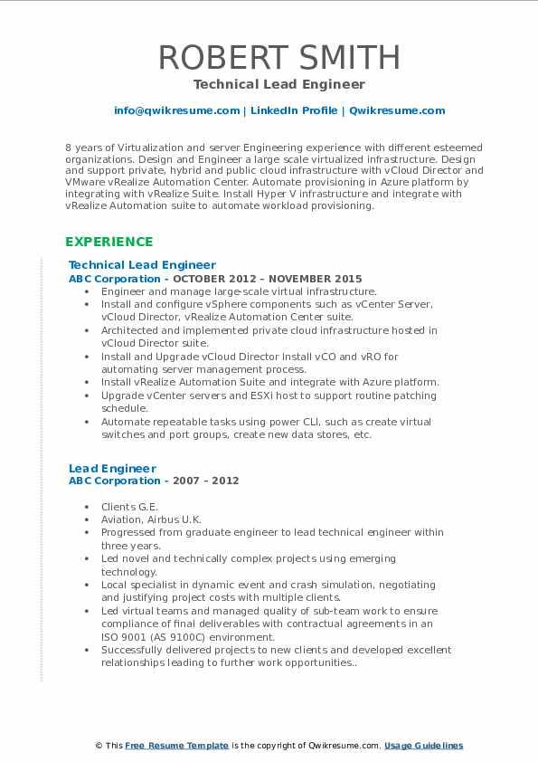 Technical Lead Engineer Resume Sample
