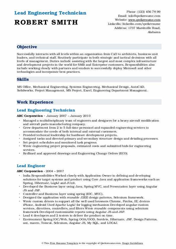 Lead Engineering Technician Resume Example