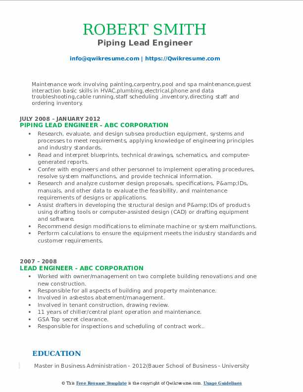 Piping Lead Engineer Resume Format