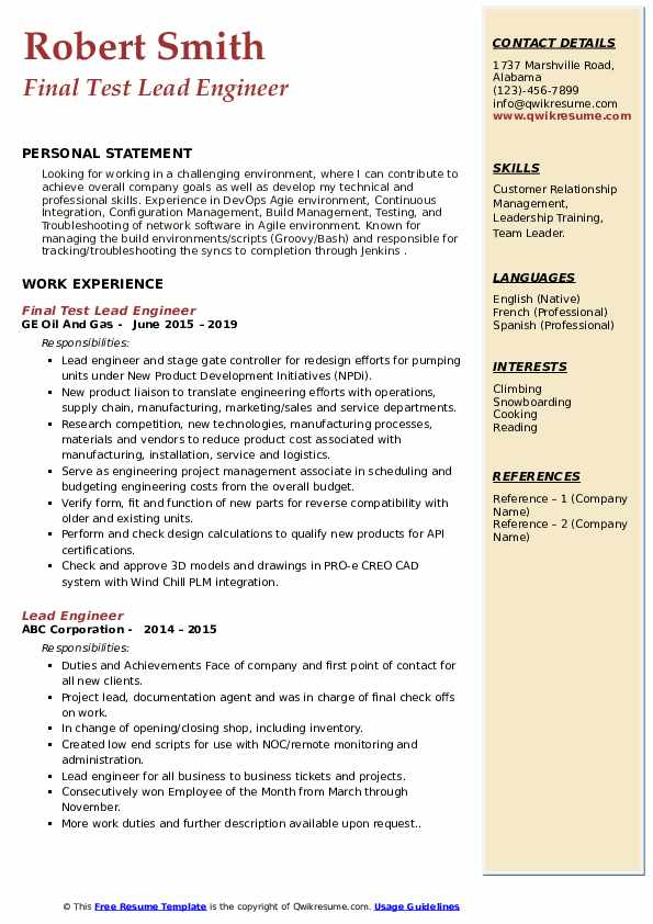 lead engineer resume samples