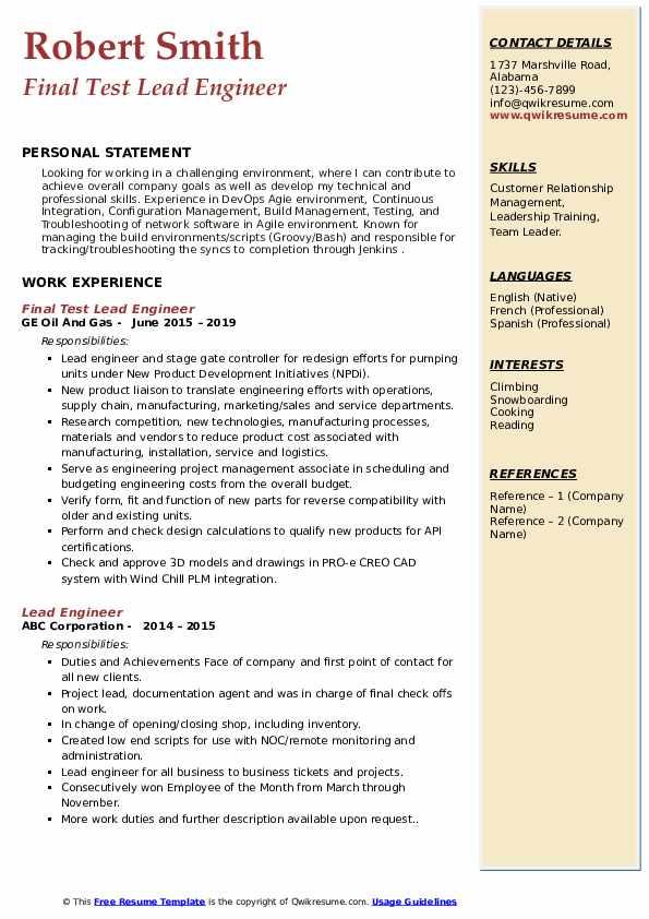 Final Test Lead Engineer Resume Model