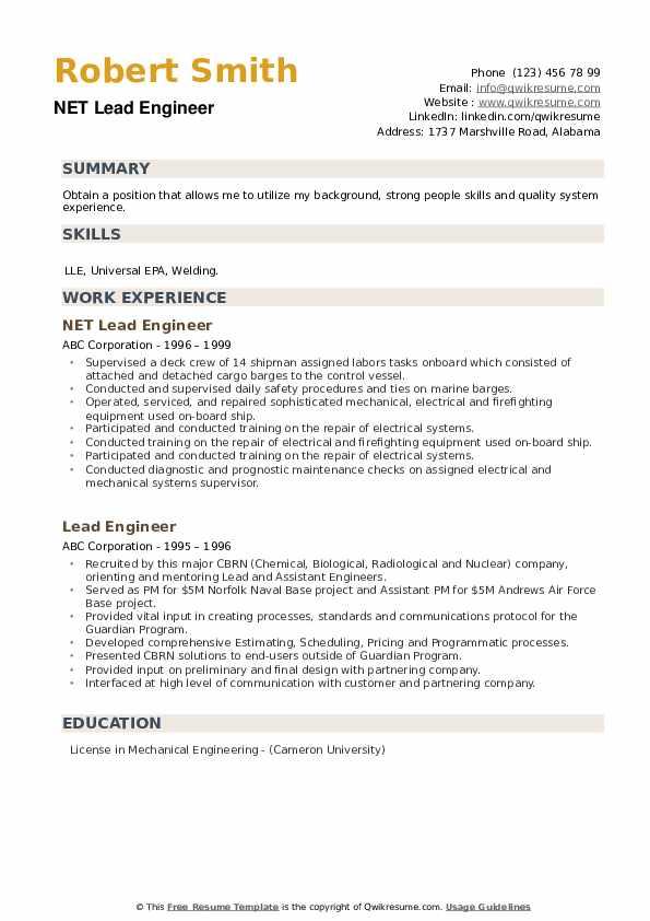 NET Lead Engineer Resume Template