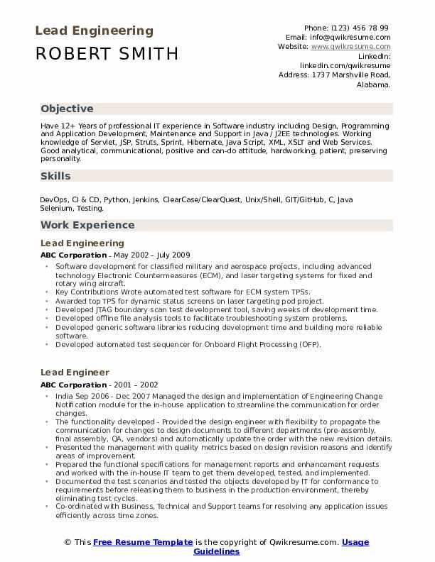 Lead Engineering Resume Sample