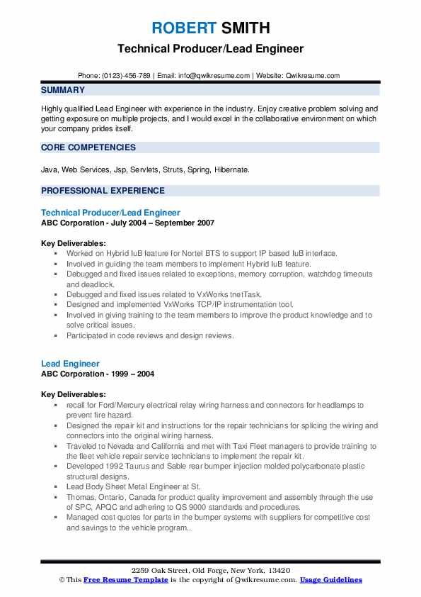 Technical Producer/Lead Engineer Resume Format