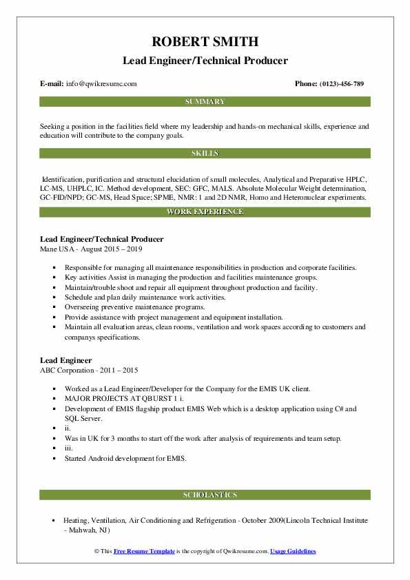 Lead Engineer/Technical Producer Resume Format
