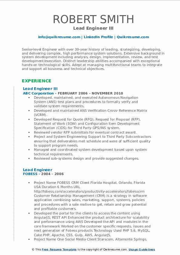 Lead Engineer III Resume Model