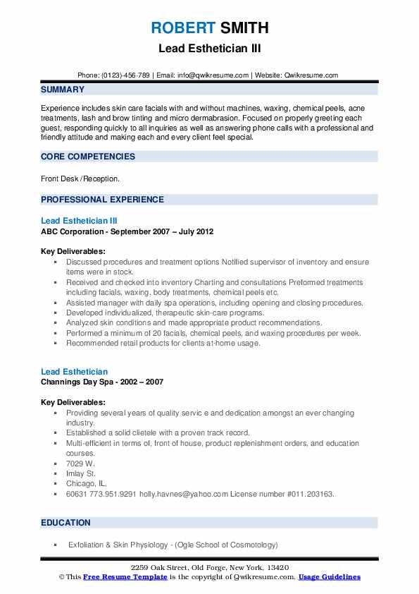 Lead Esthetician III Resume Format