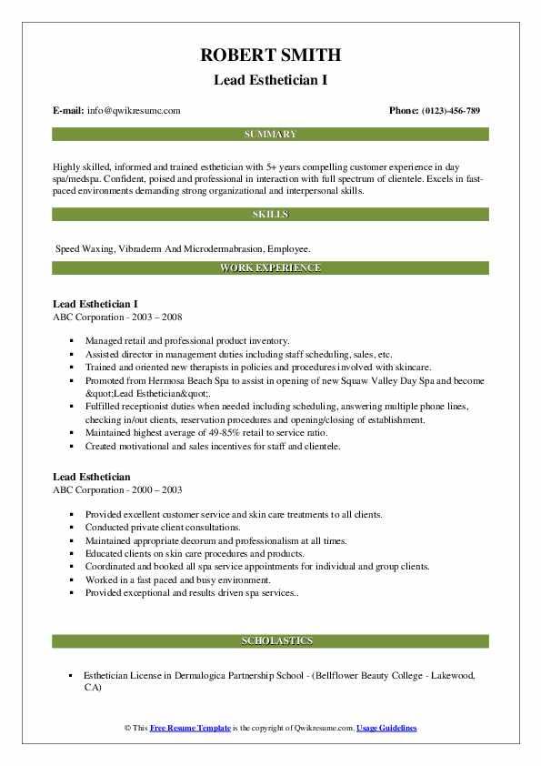 Lead Esthetician I Resume Format