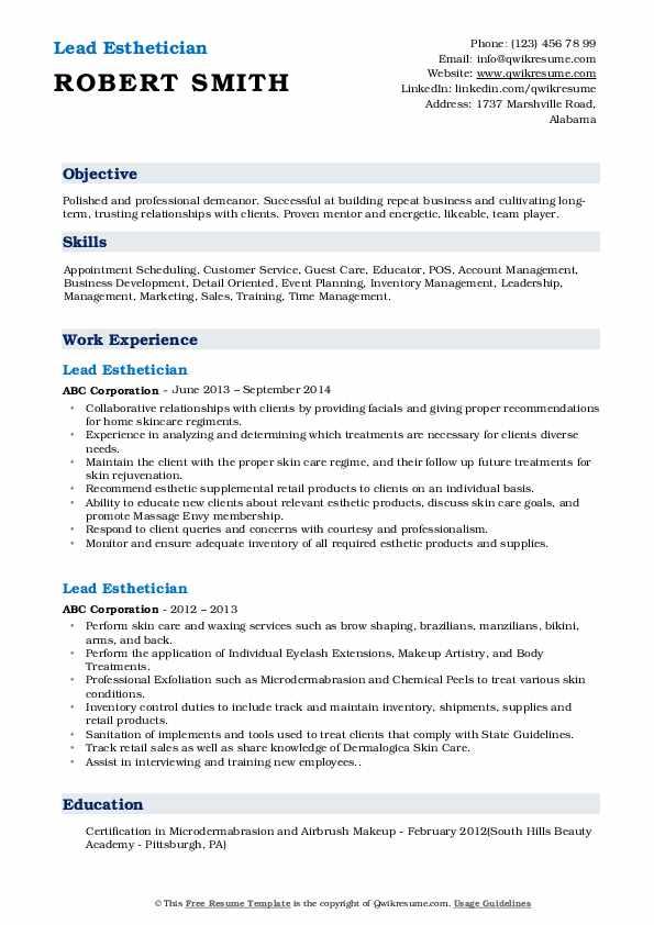 Lead Esthetician Resume Model
