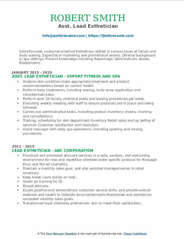 Asst. Lead Esthetician Resume Template